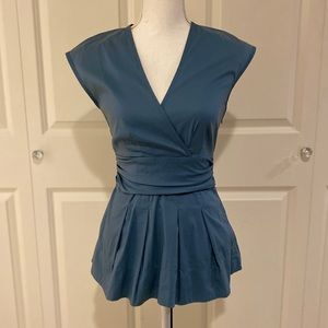 BCBG Blue Wrap Top | XS